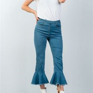 Denim - HIGH WAISTED JEANS WITH FLARED HEM
